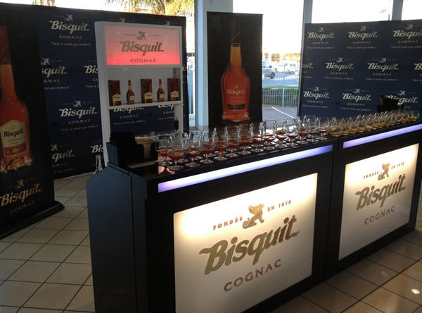 Elegant black mobile bar with back display for brand activation event in Gauteng.