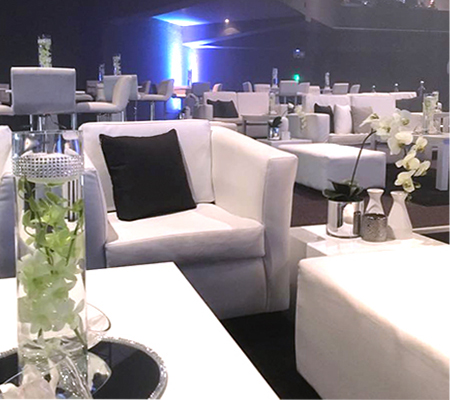 Function decor done by Drake Events in Gauteng. Stylish in white with black and silver finishes.