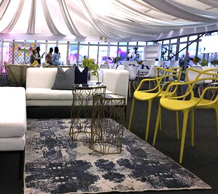 Event decor inside marque tent