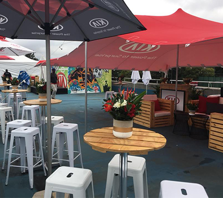 Kia brand activation with outside decor and pallet furniture
